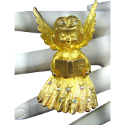 Mylu Christmas Angel Brooch with Aurora Borealis Rhinestones