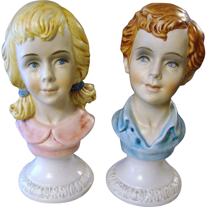 Italian Hand Painted Porcelain Boy and Girl Busts
