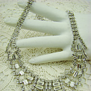 Jay Flex Sterling and Crystal Bib Evening/Runway  Necklace