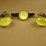 Lemon Yellow Moonglow Cufflinks and Tie Bar