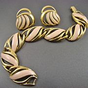 Crown Trifari Earrings and Bracelet ~ Gold Tone and Pink Enamel