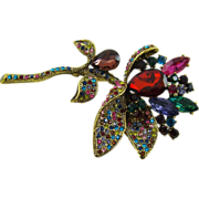 Sumptuous Floral Brooch in Gemstone Colors