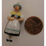 SALE Antique Porcelain Figural MIniature Lady Brooch
