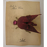 1940s Albert Weiss Red Rhinestone Bug Brooch on Original Card