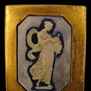 SALE c. 1930s Porcelain Grecian Lady w/ Lyre Cameo Dress Clip