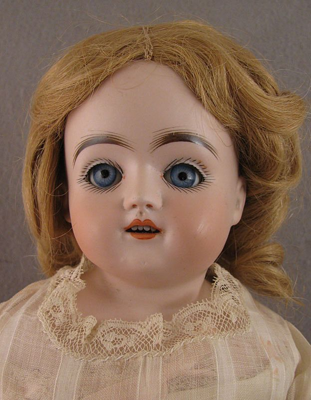 "18"" German Kestner Sleep Eye Bisque Doll on Kid Body"