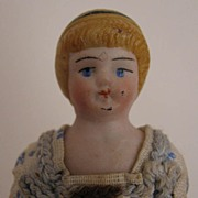 "SALE c. 1900 All Original 4.25"" Bisque Doll House Doll"