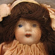 "SALE 5"" Wigged German Open Mouth All Bisque All Original Pink Dress"