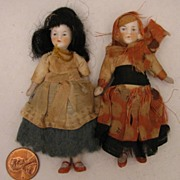 "SALE Pair of 3.5"" German Jointed All Bisque Doll in Regional Costumes"