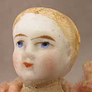 "SALE c.1875 Blond 4"" All Bisque Doll w/ Alice Hair Style"