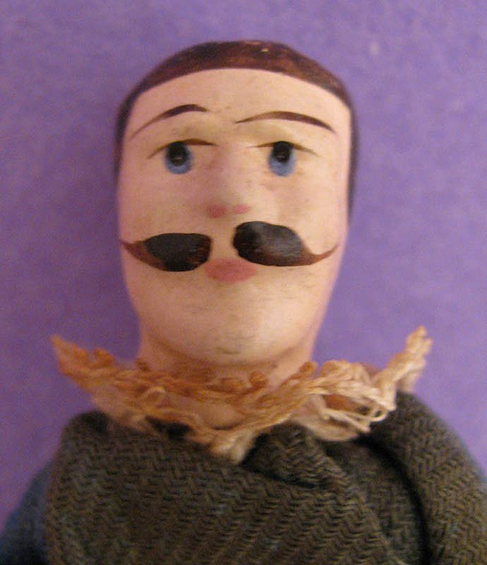 3.75&quot; Jointed Wooden Male Doll w/ Mustache & Original Clothing