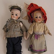 "SALE 3.25"" Pair German All Bisque Dolls w/ Glass Eyes & Original Clothes"