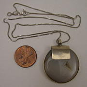 Vintage Sterling Silver Druzy Agate Pendant Disc & Necklace Chain