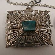 SALE Aztec Mayan God Sterling Chrysoprase Pendant Necklace