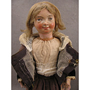 "SALE 1700s Carved Wood 17.5"" Religious Creche Figure Doll"