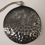 SALE Vintage Sterling Silver Hand Made Abstract Disc Pendant Necklace