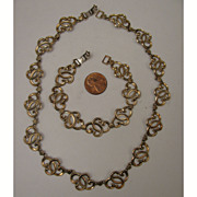 SALE c.1940s W.E.Richards Symmetalic Sterling Vermeil Necklace & Bracelet Set