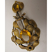 SALE Victorian Pinchbeck Garland Brooch w/ Paste Stones