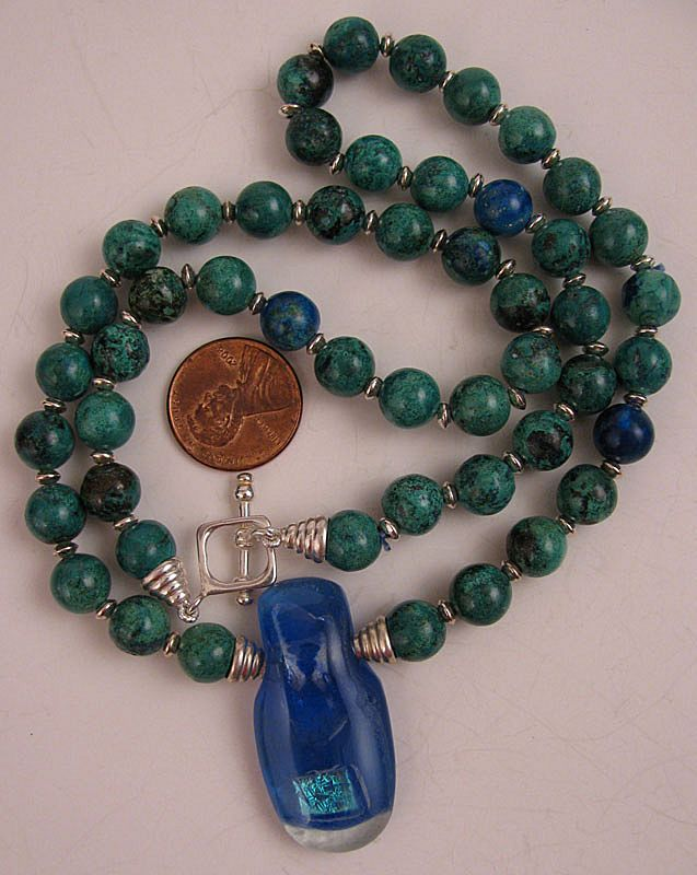 21&quot; Chrysocolla Beaded Necklace w/Dichroic Glass Pendant & Sterling Silver Clasp