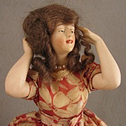 SALE Early 1900s Standing German Bisque Pincushion Half Doll w/ Wig & Jointed Arms