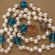 "SALE 21"" White Fresh Water Cultured Pearl w/ Vintage Blue Cut Crystal Bead Necklace"