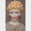 "19.5"" German Parian Shoulder Head Doll w/ Pierced Ears & Earrings"