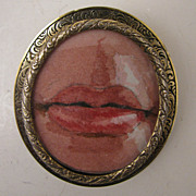 SALE Hand Painted Miniature Lover's Lips in Antique Sterling Brooch