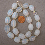 "SALE 19"" Vintage Moonstone Glass & Crystal Bead Necklace w/ Magnetic Clasp"