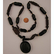 Antique Victorian Jet & Bog Oak Mourning Necklace & Pendant