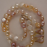 "SALE 17"" Variegated White, Pink & Mauve Fresh Water Pearl Necklace w/ Baroque Pearl Drop"