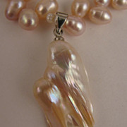 "SALE 15"" Pale Mauve Pink Fresh Water Pearl Necklace w/ Baroque Pearl Drop"