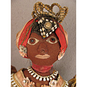 SALE Vintage Felt Ethnic Caribbean Black Folk Art Doll in Traditional Costume
