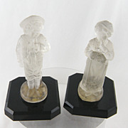 Antique Pair  FRENCH MOLDED Glass Girl and Boy Cndle Holder