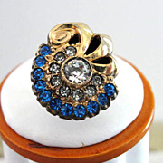 Glitzy Rhinestones Ring Deco Blue Crystal Signed