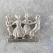 Dancing Sterling Dutch Pin Silver Vintage