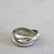 Three Sterling Silver Band Ring Rolling Vintage 6 1/4-6 1/2