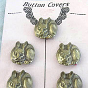 Bunny Rabbit Button Covers Victorian Romance 5 Vintage NOC