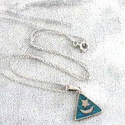Star Moon Pendant Necklace Sterling Turquoise Signed Vintage