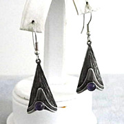 Amethyst Sterling Earrings Silver Handcrafted Vintage