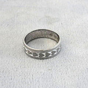 Sterling Hearts Band Ring Silver Signed Vintage