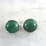 Jade Sterling Earrings Button Hand Made Screw Backs Vintage