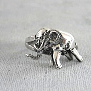Articulated Elephant Ring Sterling Silver Moves Fabulous