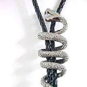 Unusual Snake Slide Bolo Necklace Fangs Turquoise Vintage 3 1/2 Inches