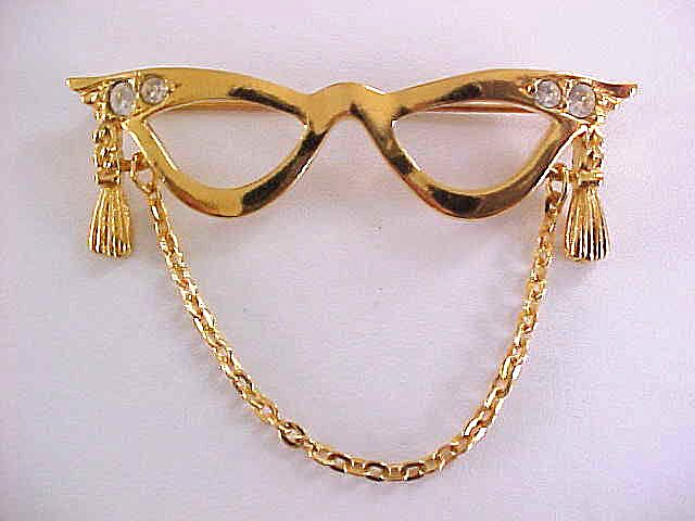 Glasses Rhinestones Pin Mask Signed Vintage Chain Eye