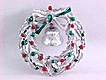 Christmas Wreath Pin Silver Tone Bell Enamels Holly