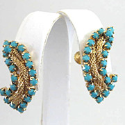 Gorgeous Hobe Earrings Blue Rhinestones Mesh