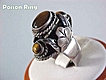 Tiger Eye Poison Ring Sterling Silver Signed Vintage