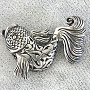 Sterling Fish Pin Signed Ornate Detail Vintage