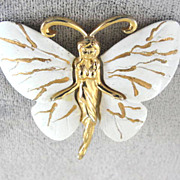 Lady Butterfly Pin Brooch Vintage