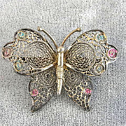 Enamel Filigree Butterfly Pin Vintage Silver Signed